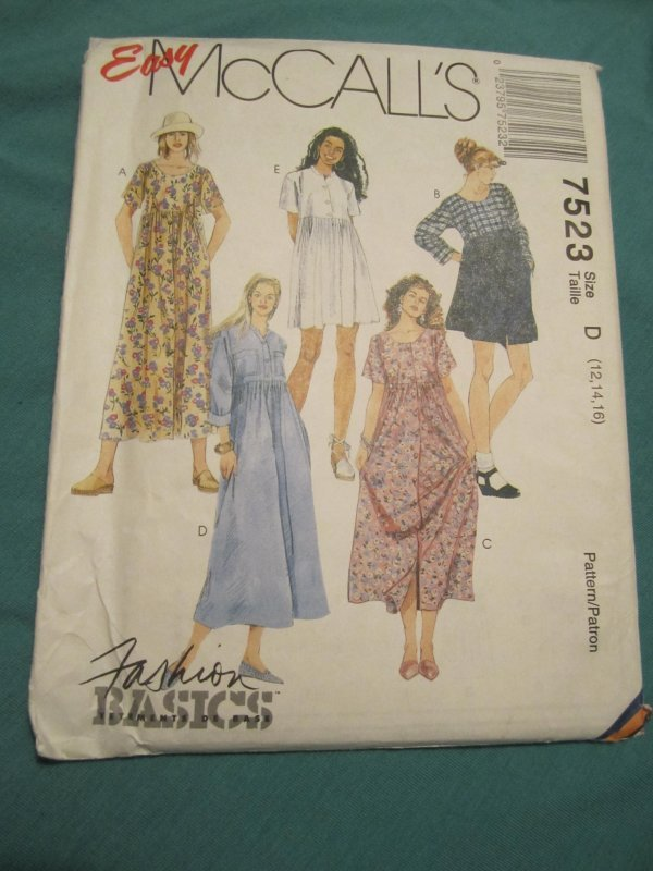 McCALLS Sewing pattern7523 Size 12,14,16  High Waist, Loose fit dress.Uncut