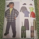 Simplicity Pattern # 7036 Toddler & Boys Pants Hat Cap Suspenders Shirt Top 3 4 5 6