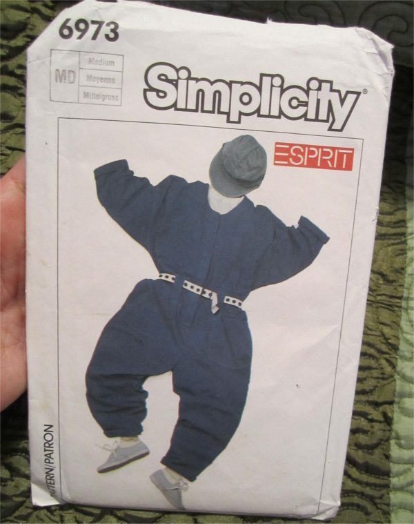 Simplicity Pattern 6973 Esprit Vintage 80s Misses' Oversized Jumpsuit Uncut Size Medium