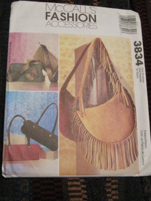 MCCALLS 3834 FASHION ACCESSORIES- HANDBAGS- SHOULDER BAGS