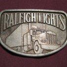 Vintage Big Rig Trucker 1970's Raleigh Lights Cigarette Brass Belt Buckle