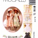 McCall's 8116 Kitty Benton Girl's Empire Waist Tulip Sleeve Full Dress Sz 6-8 Uncut