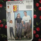 Butterick 5516 Unisex Pull on Pants With Drawstring Variations Size Large - XL