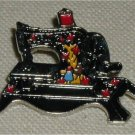 Signed Clotilde #3 Enamel Pin of a Vintage 1910 Sewing Machine