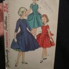 Vintage 1955 Simplicity Pattern Girls  Dress w/Detachable Collar and Cuffs, Pattern # 1296.Uncut