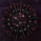 Vintage Signed Graziano Pink,purple, Rhinestone Brooch
