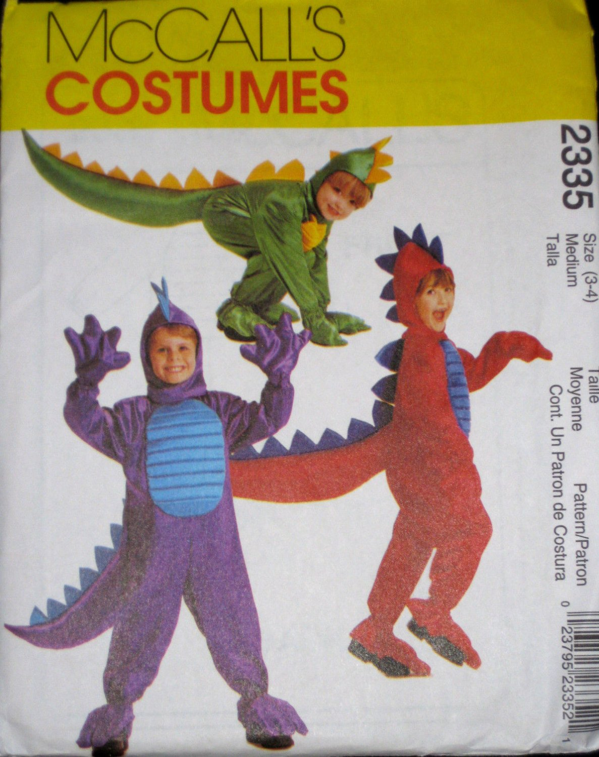 McCalls Toddler Childs Dinosaur Dragon Halloween Costume Pattern 2335 Child Size 3-4 FREE SHIPPING