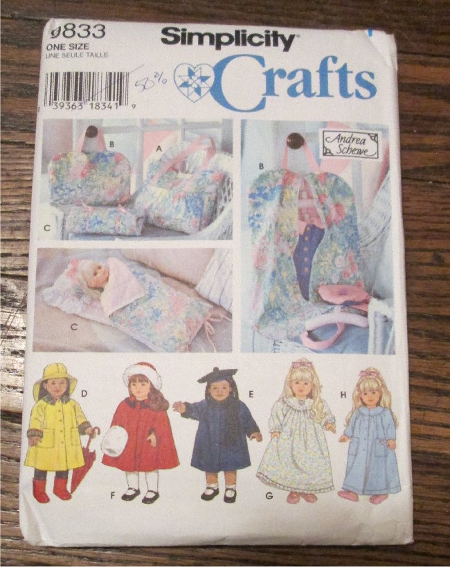 """Simplicity 18"""" Doll Clothes,Tote,Garment and Sleeping Bag  Sewing Pattern  American Girl"""