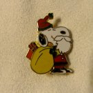 Vintage Christmas Snoopy Santa Enamel Lapel Pin 'Snoopy w/Bag and Beard