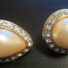Vintage MONET Clip On Rhinestone Earrings Faux Pearl Gold Tone