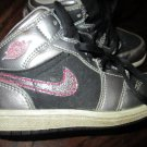 Girls Toddler Size 9C Silver Black w/Pink Glitter Nike Air Jordan