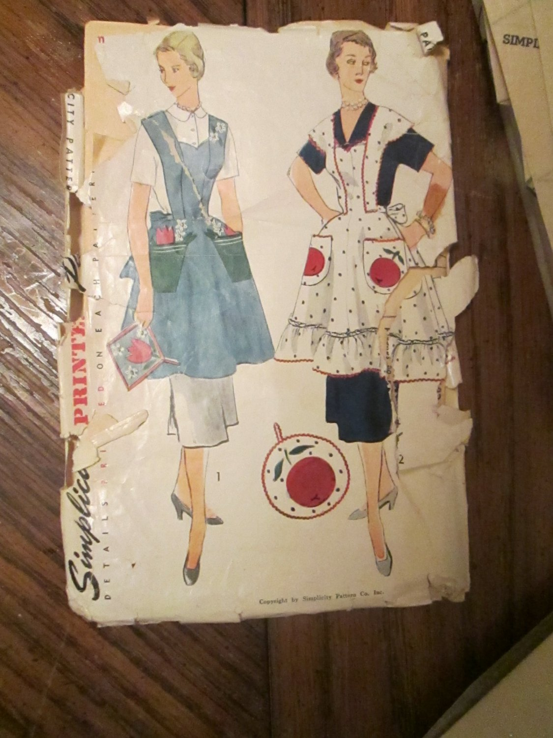 1950s Simplicity 4063 Vintage Sewing Pattern - Apron and Pot Holder FREE SHIPPING