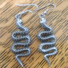 Vintage RARE SNAKE PIERCED EARRINGS Signed EGE 1989 PEWTER