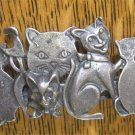 Vintage Pewter 7 Cats Barrette / Cat Lady Style 90s