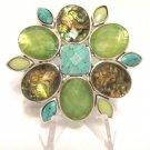 Beautiful Vintage Signed Liz Claiborne Rhinestone Brooch Pin Abalone Colors FREE SHIPPING
