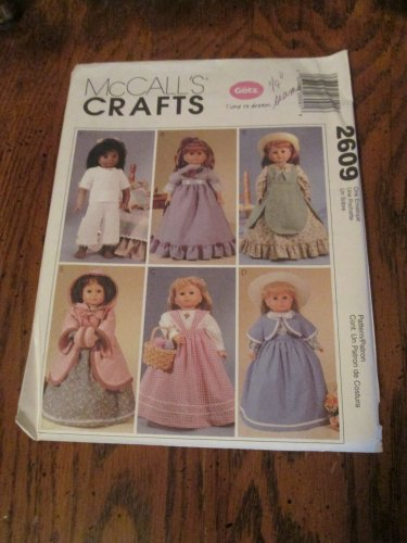 Clothes 18 Inch Doll McCalls 2609 Pattern Dress Petticoat Shawl Historical