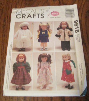 Doll Clothes Pattern For 18 inch American Girl or Gotz UNCUT McCall's 9618