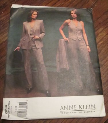 Vogue Sewing Pattern 2694 Misses Size 6,8,10 Anne Klein Pants Jacket Vest