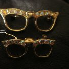VINTAGE SET OF TWO 1960's CAT EYE GLASSES SCATTER PINS / BROOCHES w RHINESTONES Free Shipping