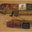 VINTAGE Enamel Knights Coat of Arms Bracelet and Pin Set