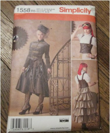 Simplicity 1558 Misses Steampunk  Fitted military-style jacket, Victorian, Pattern Size 14,16,18,22