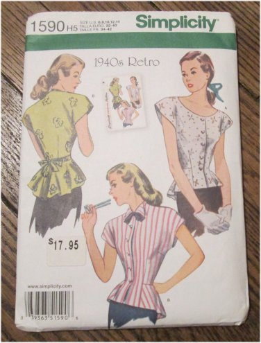 SIMPLICITY 1590 1940'S RETRO BLOUSE Peplum Tops Scoop Neck Wing Collar SEWING PATTERN FREE SHIPPING