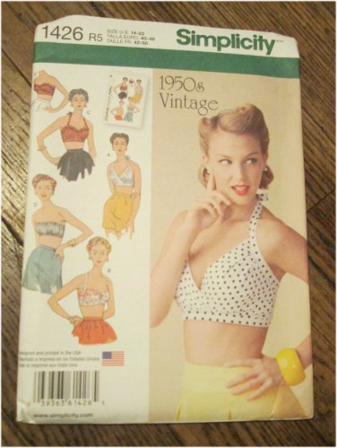 Simplicity Pattern 1426 Misses' Vintage 1950s Vintage Style Bra Tops FREE SHIPPING
