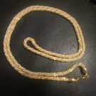 TRIFARI SIGNED VINTAGE GOLD TONE WHITE CORD ROPE TWISTED NECKLACE Free Shipping