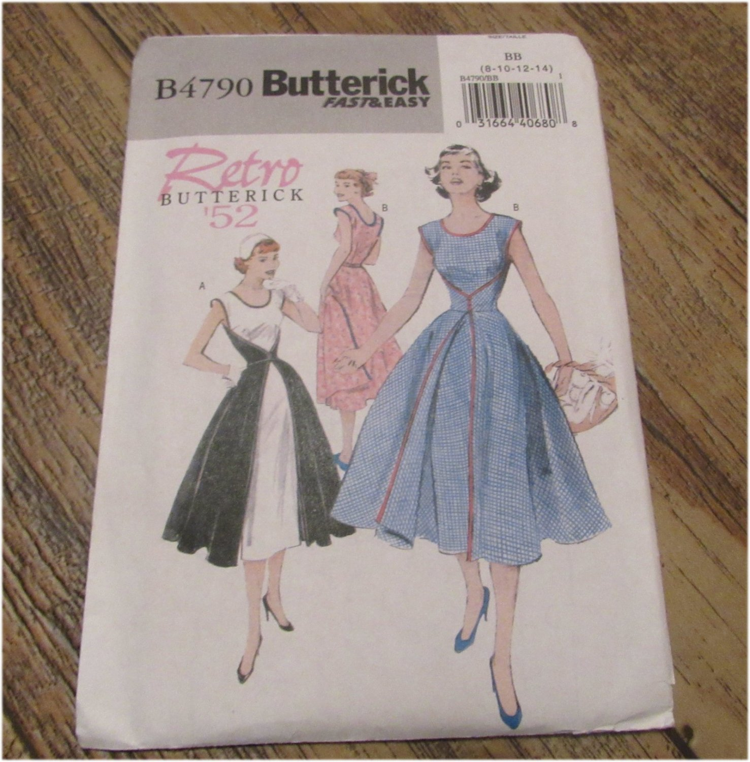 Retro Butterick '52 Sewing Pattern Misses Wrap Dress UNCUT FREE SHIPPING