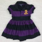 Ralph Lauren Girls Size 4T Black Purple Striped Polo Dress Embroidered Crest FREE SHIPPING