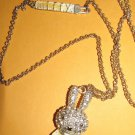 Fashion Jewelry Necklace Miffy the White Rhinestone Lady Bunny Rabbit Necklace