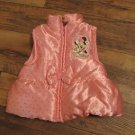 Disney Minnie Mouse Girls Size 2 toddler Pink Glitter Bow Puffy Vest FREE SHIPPING