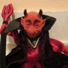 Folkmanis Halloween Red Flock Devil Velour Cloak Black Pitchfork Hand Puppet