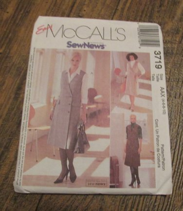 McCall's  3719 UNCUT Sewing Pattern Misses Size 4-10 Easy Wrap Front Jumpers Shirt