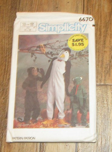 SIMPLICITY PATTERN 6670 MONKEY FROG PENGUIN CHILDRENS SIZES 10-12 UN-CUT FREE SHIPPING