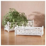 Distressed White Wood Carved Planters