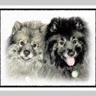 "6 Keeshond Note or Greeting Cards """"Mother & Son"""""