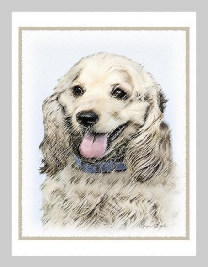 6 Cocker Spaniel Buff Color Note or Greeting Cards