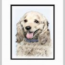 Cocker Spaniel Buff Matted Dog Art Print 11x14