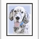 English Setter Matted Dog Art Print 11x14