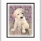 Golden Retriever Puppy Matted Dog Art Print 11x14