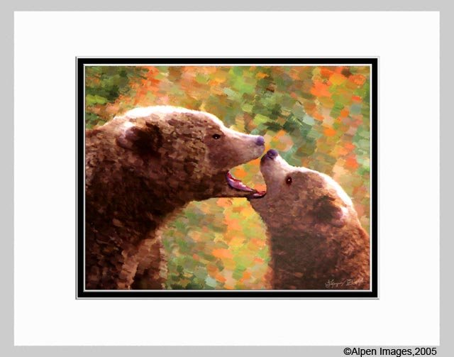 Grizzly Bear Mother & Cub Bears Art Print 11x14 Matted
