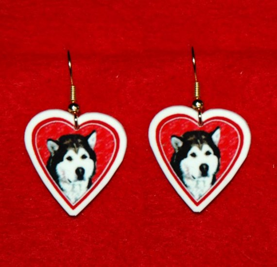 Alaskan Malamute Dog Heart Valentine Earrings Jewelry
