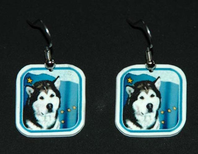 Alaskan Malamute with Alaska Flag Earrings Jewelry
