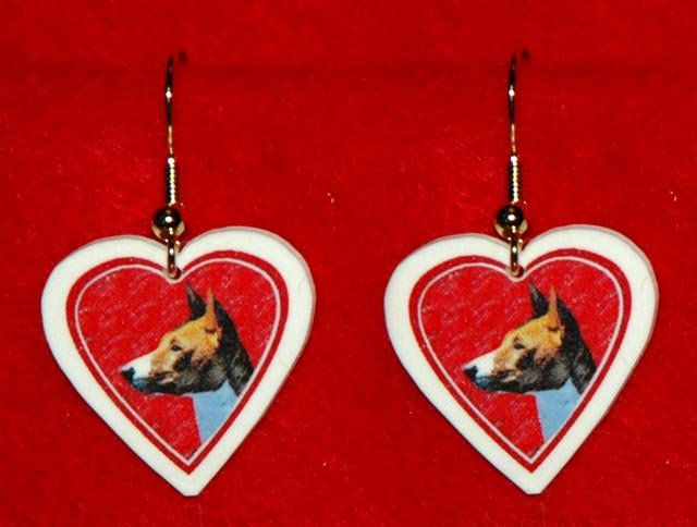 Basenji Dog Heart Earrings Jewelry Handmade