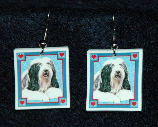 Bearded Collie Dog Earrings Jewelry Handmade