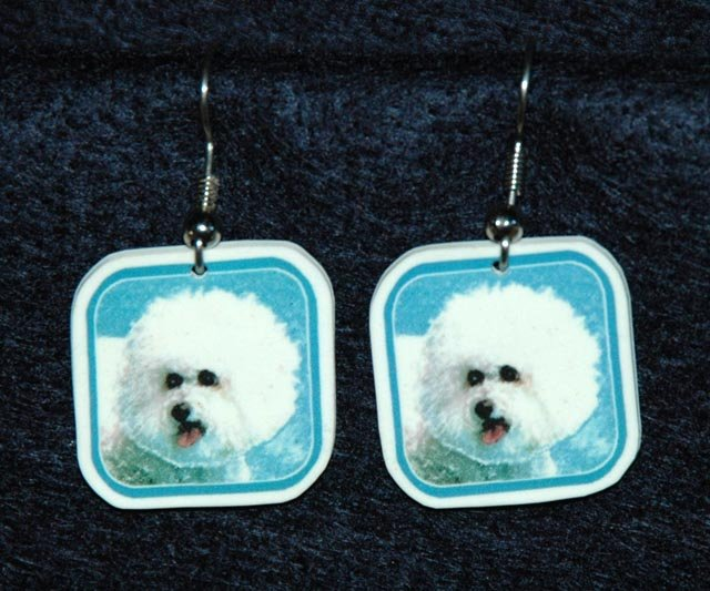 Bichon Frise Dog Earrings Handmade