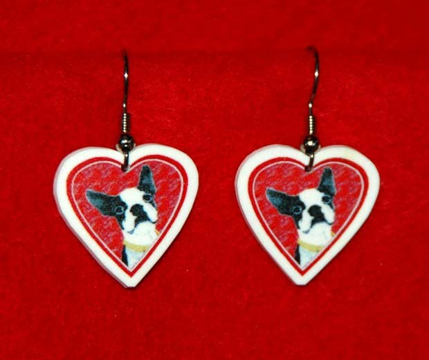 Boston Terrier Dog Heart Jewelry Earrings Handmade