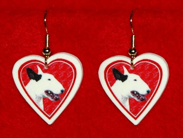 Bull Terrier Dog Heart Earrings Jewelry Handmade