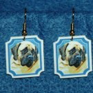 Bullmastiff Dog Heart Jewelry Earrings Handmade